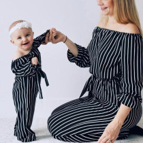 Mother and Daughter Girls Off Shoulder Jumpsuit Outfits