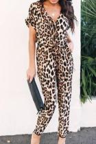 V Neck  Leopard Printed  Short Sleeve Jumpsuits