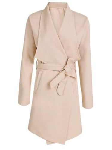 Plain European Style Lapel Trench-Coats