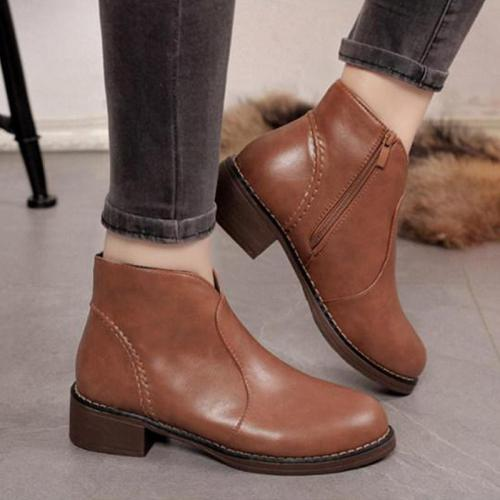 Plain Flat Round Toe Casual Date Ankle Ankle Boots