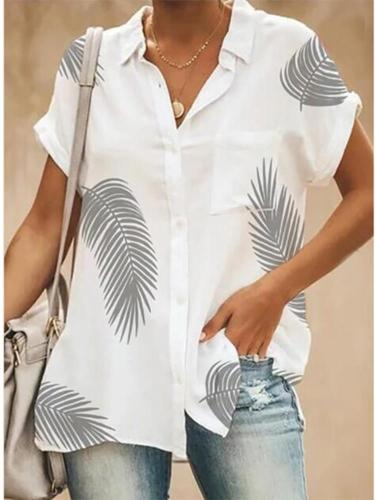 Casual Turndown Single-Breasted Short Sleeve Collar Printed Colour Blouse