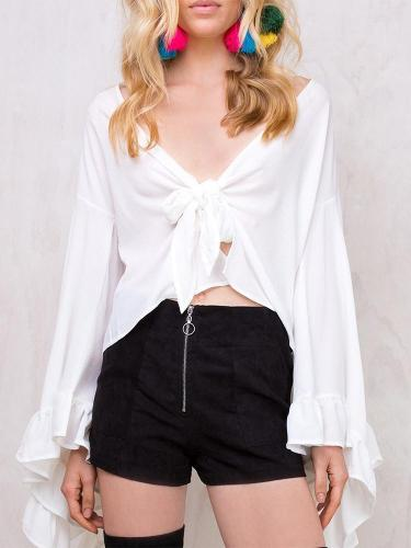 Sexy Solid Color Chiffon V-Neck Irregular Trumpet Sleeves Umbilical Top