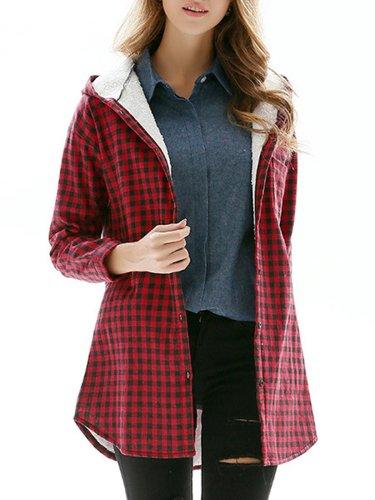 Hooded Plaid Curved Hem Fleece Lined Coat