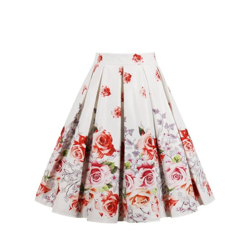 Women Pleated Vintage Skirts Floral Print Dress