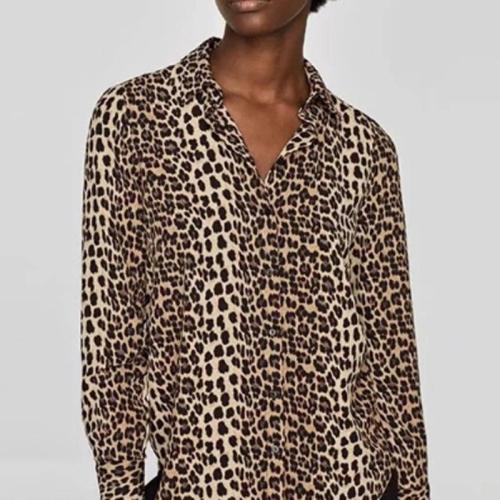 Leopard Printed Lace Patchwork Long Sleeve Blouses