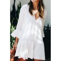 Deep V Neck  Decorative Lace  Plain  Bell Sleeve  Long Sleeve Casual Dresses