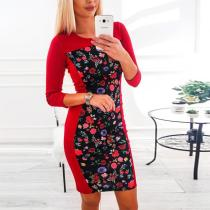Round Neck  Print  Long Sleeve Bodycon Dresses