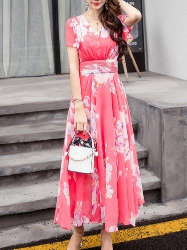 Summer V-Neck Floral Printed Chiffon Maxi Dress