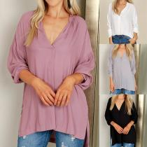 V-Neck Casual Long Sleeve Blouses