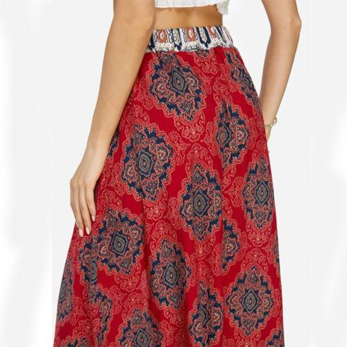 Bohemian Lace-up Split Long Women's Skirt