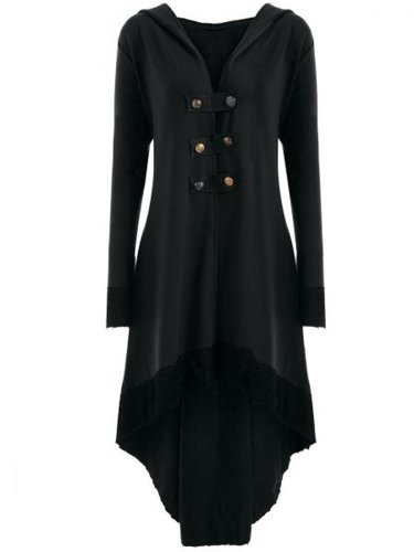 Hooded High-Low Lace-Up Plain Long Coat