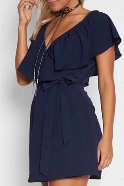 V Neck  Flounce  Belt  Plain  Short Sleeve Casual Dresses