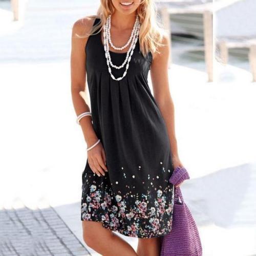 Scoop Neck  Floral Printed Shift Dress