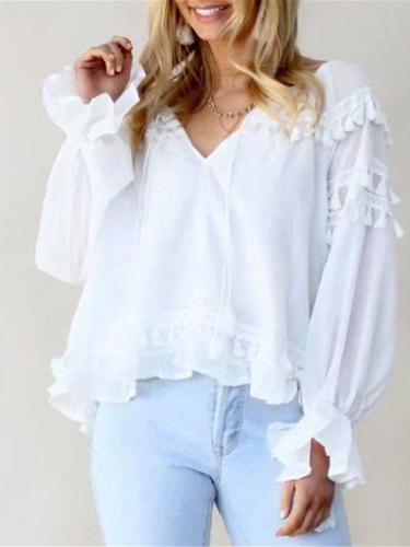 Fashion Tasseled Lotus Leaf Sleeve Shirt