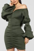 Sexy Puff Sleeve V Neck Off-Shoulder Bodycon Dresses