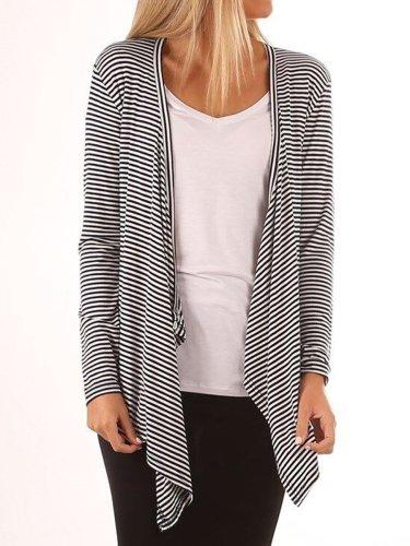 Open Front Irregular Hem Striped Cardigan