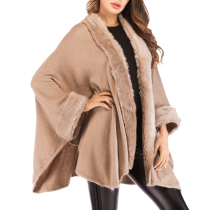 Collarless Plain Batwing Sleeve Coat