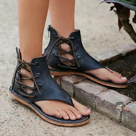 Lace Up PU Flip Flops Sandals