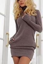 Fashion Plain Long Sleeve Bodycon Dress