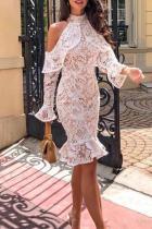 Elegant Lace Hollow Out Off-Shoulder Bodycon Dresses