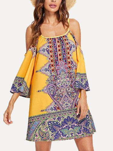 Casual Sling Printed Colour Off-Shoulder Beach Dresses