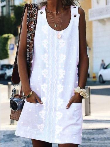 Scoop Neck Sleeve Printed Casual Dresses