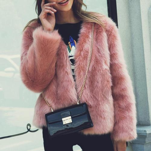 Round Neck Long Sleeve Plain Elegant Fur Coats