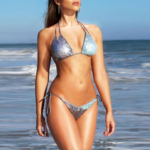 Halter  Color Block Plain Bikini