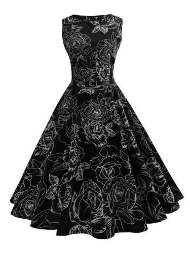 Printed Hepburn Style Retro Skater Dress