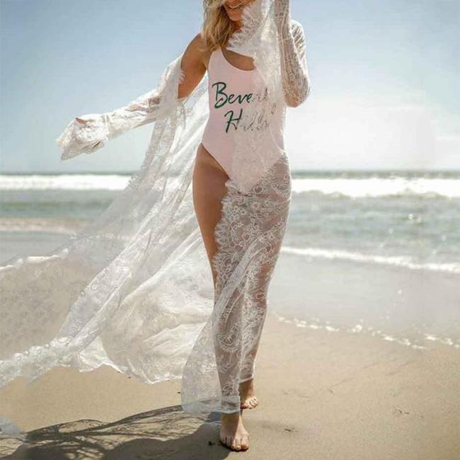 Sexy Lace Embroidered Cardigan Bikini Beachwear