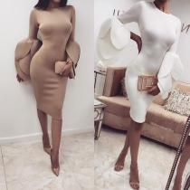 Fashion Round Neck With Petal Trumpet Long Sleeve Bodycon Dress