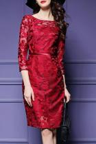 Round Neck  Floral Elegant Bodycon Dress