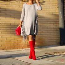 Round Neck Tassel Fashion Suede Casual Dress