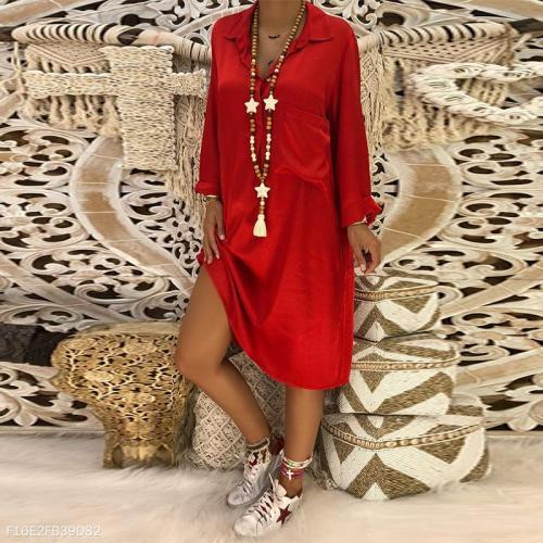 Elegant Lapel Button Pocket Long Sleeve Plain Casual Dress