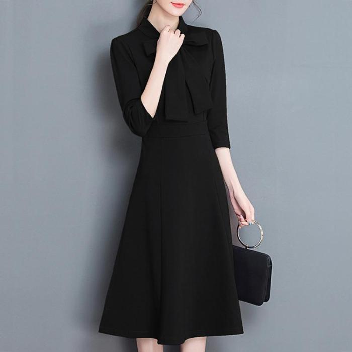 Elegant Solid Color Slim Shift Dress
