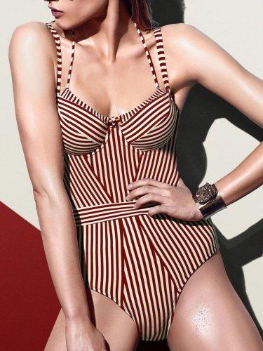 Striped One Piece Swimwear