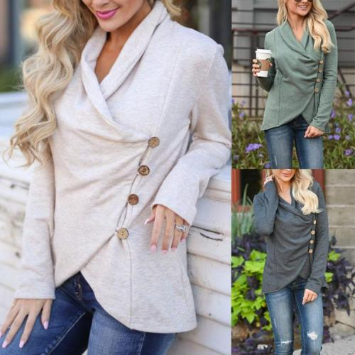 Cowl Neck  Single Breasted  Plain Cardigans