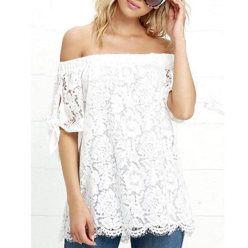 Strapless  Backless Bowknot  Smocked Bodice  Plain T-Shirts
