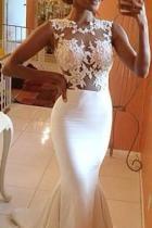 Fashion Sleeveless See-Through Pure Colour Fishtail Dresse