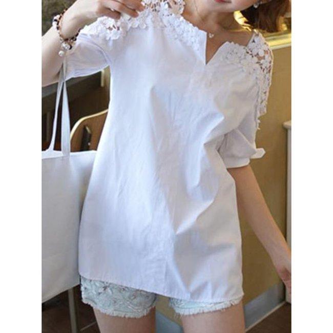 Cotton V-Neck Decorative Lace Plain Short Sleeve Blouse