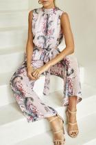Halter Elastic Waist Back Hole Belt Floral Printed Jumpsuits