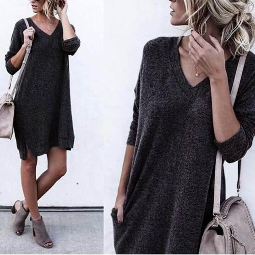 V Neck Long Sleeve Casual Dress