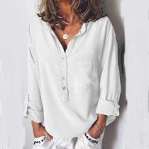 European And American Pure Long-Sleeved Fashion Loose V-Collar Blouse