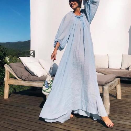 Fashion Round Neck Lace Up Lantern Sleeve Plain Maxi Dress