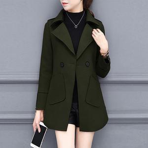 Lapel Patch Pocket Plain Woolen Trench Coat