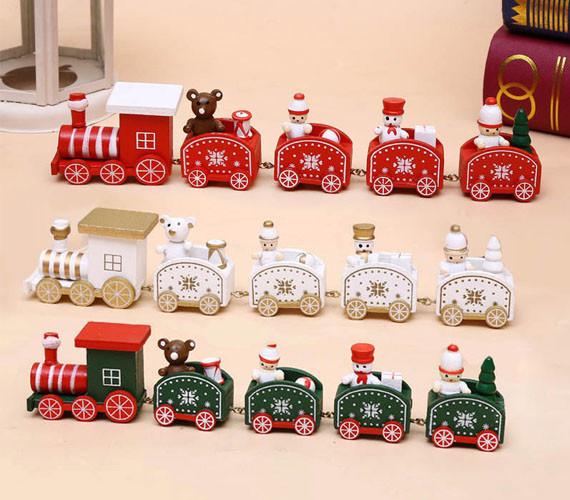 Wooden Christmas Train Ornament