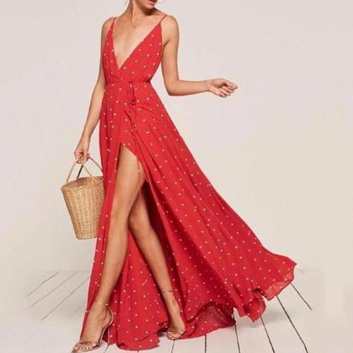 Polka-Dot Split-Side Condole Belted Dress