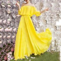 Off Shoulder  Elastic Waist  Plain Maxi Dress