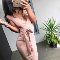 Sexy V Collar Hollow Pure Color Slim Work Dress
