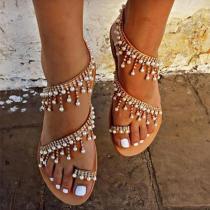 Bohemian Pearl Tassel Clip Toe Beach Flat Sandals